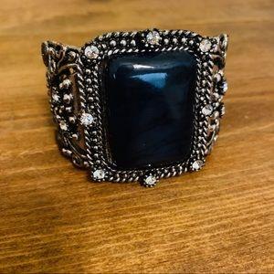 Silver & Black Onyx Vintage Cuff Bracelet